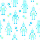 Cute robots seamless background. In the cartoon style. Blue shades. Irregular Stock Image