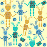 Cute robots  seamless pattern and seamless pattern in swatch men. U, vector  illustration Stock Images