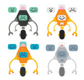 Cute robots set. Set of cute flat style robots with different emotions isolated on white Stock Photography