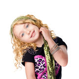 Cute rocker girl. Face of cute happy smiling girl in rocker outfit and head scarf, isolated royalty free stock photo