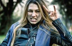 Cute rocker girl. Portrait of a cute rocker girl Royalty Free Stock Photos