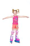 Cute roller skating little girl isolated on white Stock Photo