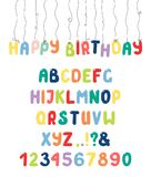 Cute roman alphabet with numbers, punctuation marks. Hand drawn cute and bright roman alphabet with numbers, punctuation marks. Make your own festive lettering Stock Photos
