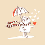 Cute romance card with cartoon, umbrella and. Hearts. Valentines vector illustration Royalty Free Stock Photos