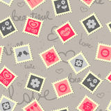 Cute romantic background. With stamps royalty free illustration