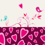 Cute romantic background with birds in love Stock Image