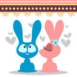 Cute romantic bunny card Stock Photos