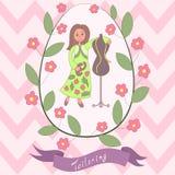 Cute romantic card with happy cartoon seamstress Royalty Free Stock Photos