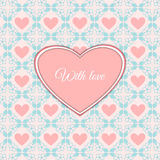 Cute romantic card with heart Stock Images