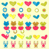 Cute romantic colorful stickers Stock Photo