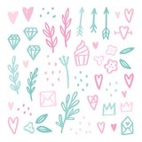 Cute romantic doodle drawings. Hand drawn vector illustration Royalty Free Stock Photography
