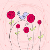 Cute romantic illustration with bird and roses Royalty Free Stock Photography