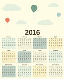 Cute romantic pastel colorful 2016 calendar with balloons and cloud illustration. Cute romantic pastel colorful 2016 calendar with balloons and cloud vector Royalty Free Stock Photos