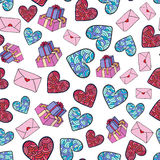 Cute romantic pattern with gifts, hearts and envelopes. Velantines day vector design Stock Photos