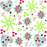Cute romantic pattern with hearts, vector illustration. Colorful Royalty Free Stock Images