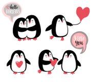 Cute romantic penguins. Vector illustration royalty free illustration