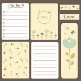 Cute romantic printable journal cards, notes, to do list, stickers and bookmark with flowers illustration Royalty Free Stock Photo