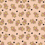 Cute romantic seamless pattern with hippos Royalty Free Stock Photos