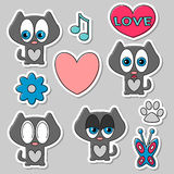 Cute romantic stickers set. With cats Royalty Free Stock Photo