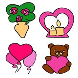 Cute romantic Stickers Set For Valentine`s Day dating. stock illustration