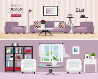 Cute rooms set: cozy classic and modern living rooms with furniture. Stylish interior design: big sofa and armchairs, table, window and bookcase. Vector Stock Images