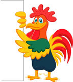 Cute rooster cartoon and blank sign Stock Photos