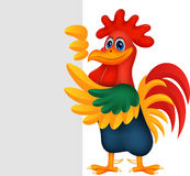 Cute rooster cartoon and blank sign. Illustration of Cute rooster cartoon and blank sign Stock Image