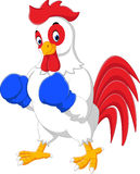 Cute rooster cartoon boxing Stock Images