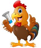 Cute rooster cartoon holding a loudspeaker Royalty Free Stock Image