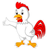 Cute rooster cartoon presenting Stock Image