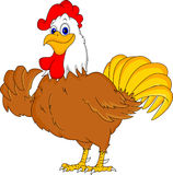 Cute rooster cartoon thumb up Royalty Free Stock Photo