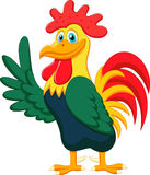 Cute Rooster Cartoon Waving Royalty Free Stock Photography