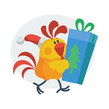 Cute Rooster with Gift Cartoon Flat Vector Icon Royalty Free Stock Photo