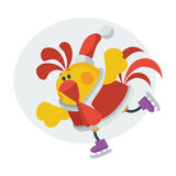 Cute Rooster on Skates Cartoon Flat Vector Icon Royalty Free Stock Photo