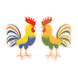 Cute rooster sticker in cartoon style. Cute cock sticker in cartoon style. Rooster symbol of Chinese New Year. Vector illustration. In full growth. Bright Stock Photos