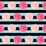 Cute Rose Flower Seamless Pattern Background Vector Illustration Stock Images