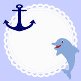 Cute round baby frame in nautical style with an anchor and a Do. Lphin on a blue background. template for photo frame or greetings. vector illustration. baby Royalty Free Stock Photo