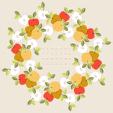 Cute round frame with colorful leaves and apples Royalty Free Stock Photo