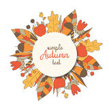 Cute round frame with forest elements. Leaves, flowers, acorn, berries. Autumn, summer frame with text space and shadow Stock Photography