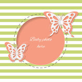 Cute round frame with paper cut butterflies. Stock Images