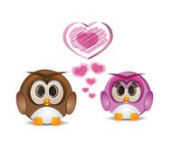 Cute round owl in love Royalty Free Stock Images