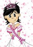 Cute Royal Fairytale Princess. Vector Illustration of a Cute Cartoon Royal Princess with Tiara Royalty Free Stock Photos
