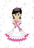 Cute Royal Fairytale Princess. Vector Illustration of a Cute Cartoon Royal Princess with Tiara Royalty Free Stock Photo