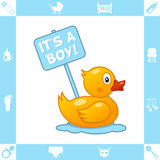 Cute Rubber Duck with It's a Boy Sign Stock Images