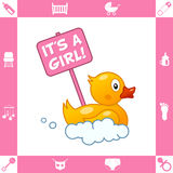 Cute Rubber Duck with It's a Girl Sign royalty free illustration