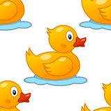 Cute Rubber Duck Seamless Pattern Stock Images
