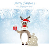 Cute Rudolph Reindeer - Illustration. Christmas Design with Cute Rudolph Reindeer Royalty Free Stock Images