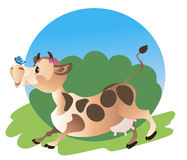 A cute running  cow Stock Images