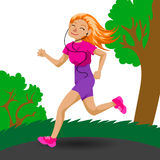 Cute running girl Royalty Free Stock Photography