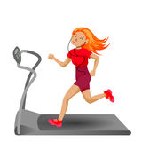 Cute running girl. In cartoon style. Healthy lifestyle Royalty Free Stock Photo